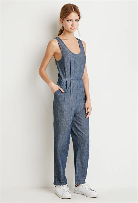 forever 21 denim jumpsuit forever 21 chambray jumpsuit in blue lyst