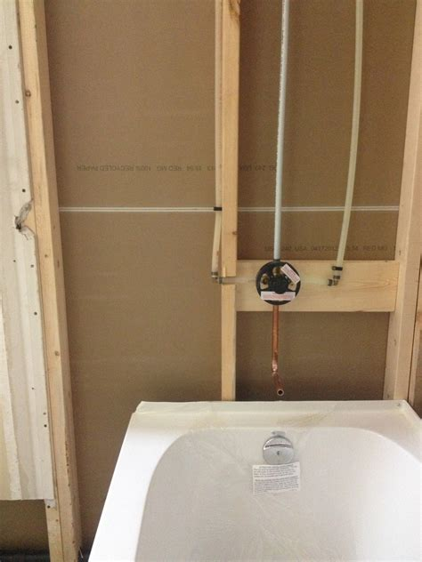 new installation of bathtub and shower valve callaway