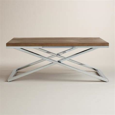 chrome and wood coffee table wood and chrome pierceson coffee table world market