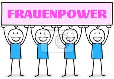 frauenpower team aus vier figuren wandposter poster