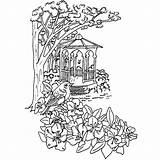 Gazebo Drawing Scene Daisy Purple Getdrawings sketch template