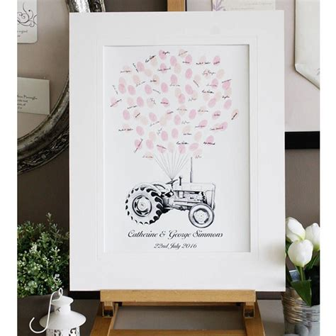tractor fingerprint guest book english country wedding