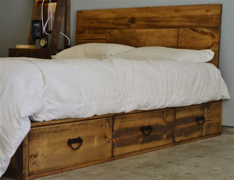 Rustic Brown Wooden Bed Frame With Storage Drawers And