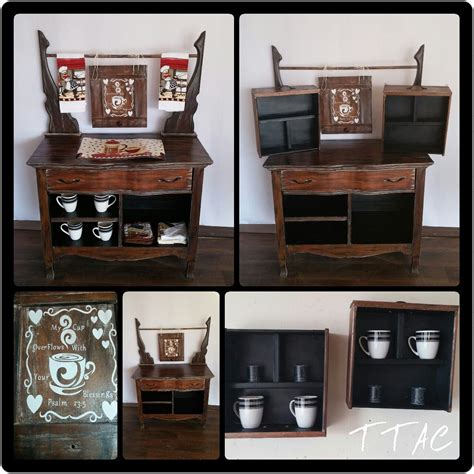 You can create a delightful home coffee bar setup that will look perfect in your kitchen or apartment. Turn a dresser or wash stand into a coffee bar with wall shelves.   Unique wall shelves, Wall ...