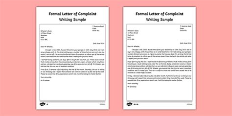formal letter  complaint writing sample