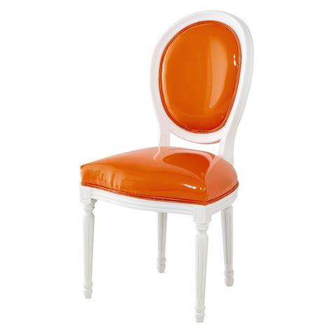 chaise médaillon maison du monde chaise médaillon en textile enduit orange et bois blanc louis maisons du monde