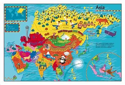 Asia Map Children Cosmographics Maps Childrens