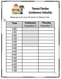 conference sign up sheet editable elementary classroom 740 | 94bd94f39c4d02dd1e9a00b309029a2d