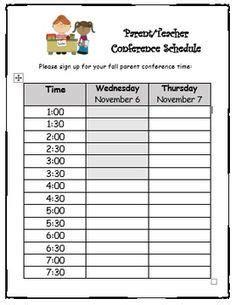conference sign up sheet editable elementary classroom 779 | 94bd94f39c4d02dd1e9a00b309029a2d