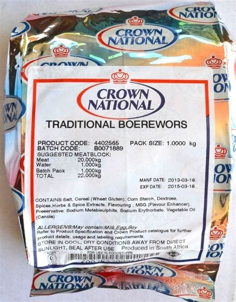 crown national traditional boerewors spice kg