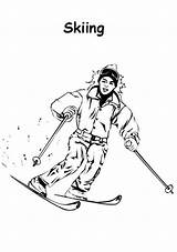 Coloring Skiing Athlete sketch template