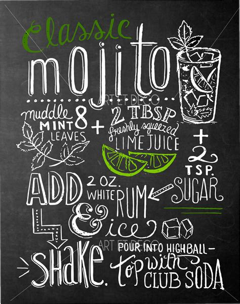 ardoise cuisine tableau recette cocktail mojito cuisine ardoise tableau à