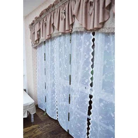 Rose Embroidery Sheer Pull up Curtain
