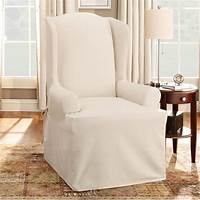 chair slip cover white linen wingback chair slipcover and white table lamp with round brown wooden table side on ...