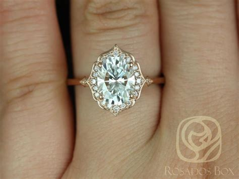 mae xmm kt rose gold oval  moissanite  diamond halo