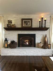 White, Stone, With, Copper, Gas, Fireplace