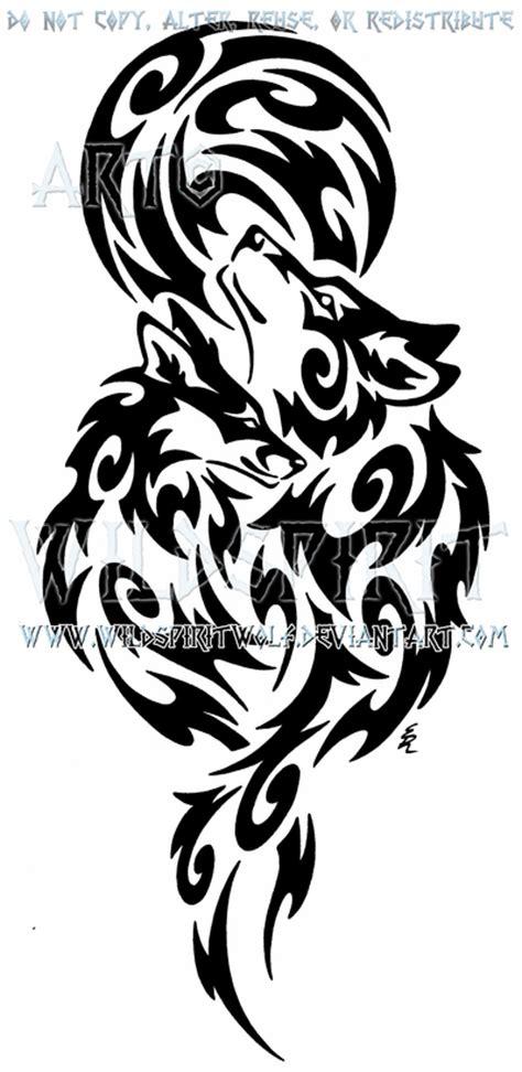 wolf  fox full moon tribal design  wildspiritwolf