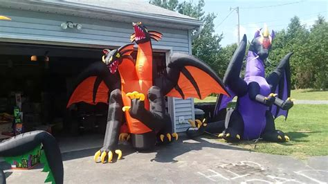 halloween inflatable ft wide fire  ice  head dragon youtube