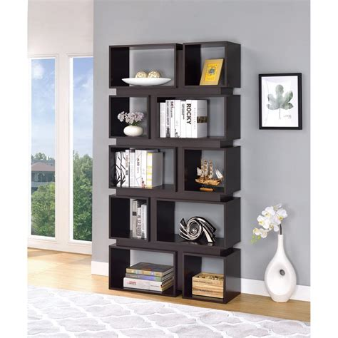 Sturdy Bookcase by Sturdy Geometrically Designed Wooden Bookcase Brown