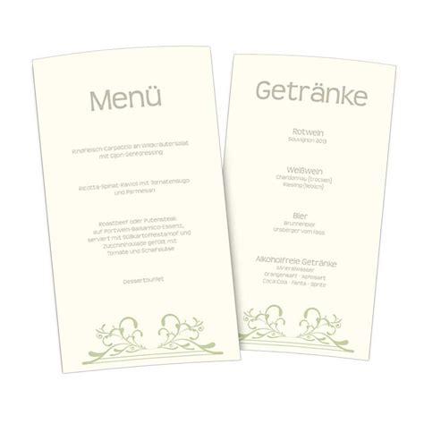 stilvolle menuekarte fuer speisen und getraenke auf der