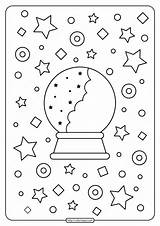 Coloring Crystal Ball Printables sketch template