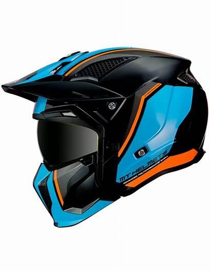 Casco Trial Streetfighter Mt Naranja Azul Negro