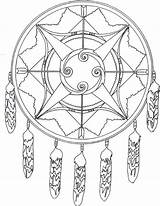 Coloring Native American Pages Dreamcatcher sketch template