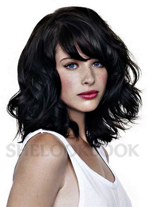 dark wavy hair bob  bangs  combination