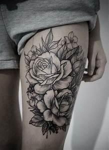 Rose En Tatouage : best 10 flower thigh tattoos ideas on pinterest sunflower tattoo thigh thigh tattoos and ~ Farleysfitness.com Idées de Décoration