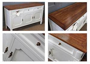Buffet in Antique White Milk Paint and Brown Mahogany Gel