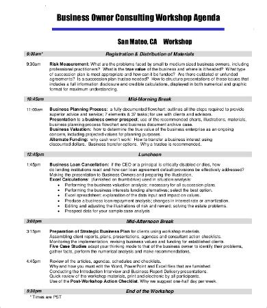 workshop agenda template   word excel
