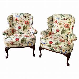 Highland, House, Floral, Contemporary, Wingback, Armchair, White, Custom, Lounge, Chair, For, Sale, At, 1stdibs