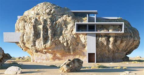 modern rock house built   side   enormous boulder