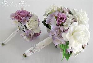 Wedding bouquet set white gardenia lavender rose bridal