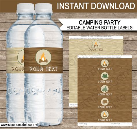 bottle label template cing water bottle labels editable template