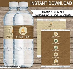 Camping party water bottle labels editable template for How to put labels on bottles