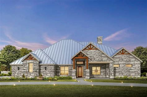 bed hill country ranch house plan  stone exterior ly architectural designs