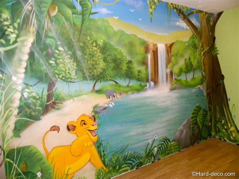 chambre garcon jungle décoration murale roi deco