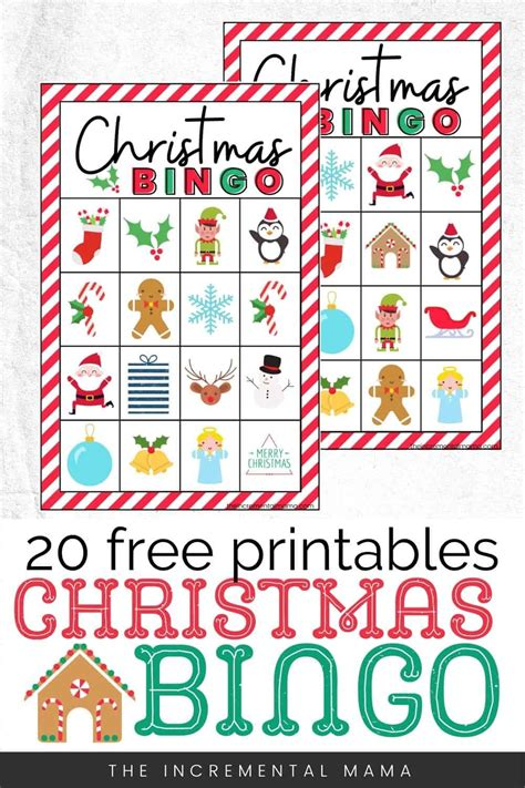 20 free printable christmas bingo cards. 20 Free Printable Christmas Bingo Cards - The Incremental Mama