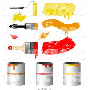 Paint Cans and Brushes Clip Art