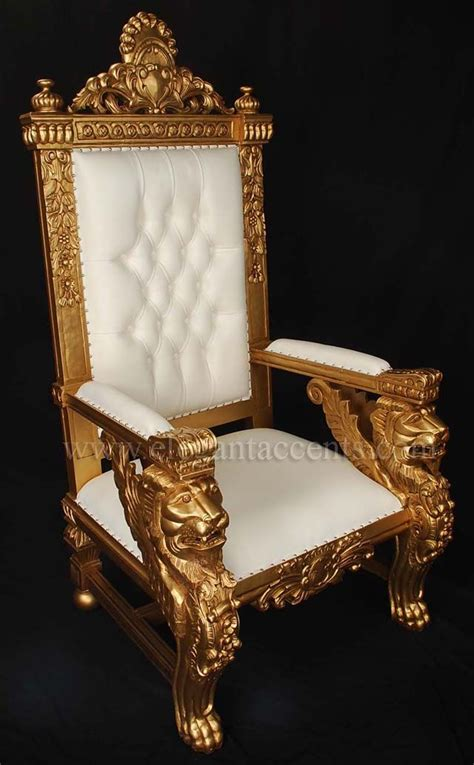 winged lion throne chair gold paint  white