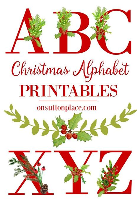 christmas alphabet printables diy wall art punctuation