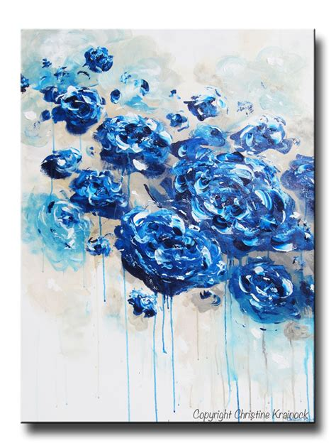 canvas print large blue abstract blue white flowers