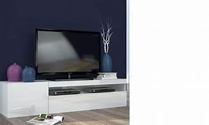 Meuble Cache Tv : meuble tv blanc d signe avec cache cable ~ Premium-room.com Idées de Décoration