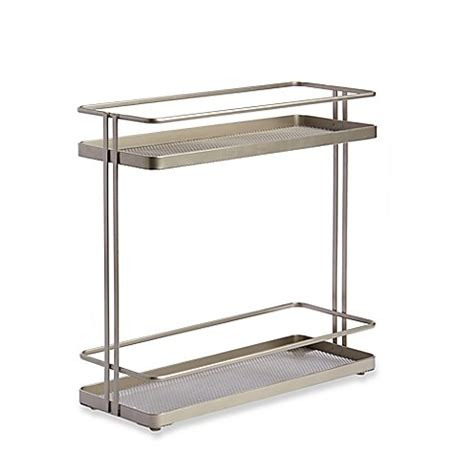 bed bath and beyond cabinet organizer org 2 tier cabinet organizer in nickel bed bath beyond