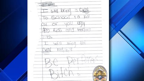 grade student arrested  writing note threatening