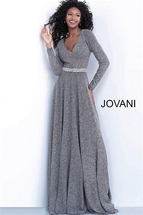 Jovani 62812 Silver Metallic Long Sleeve Flowy Prom Dress
