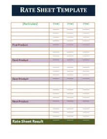 Rate Sheet Template Part Resume Template Calendar Template Site