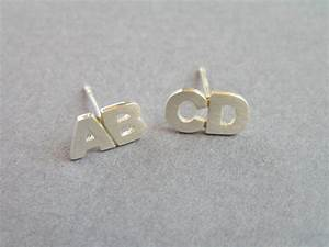 initial earrings two letters silver stud earrings With letter earrings silver