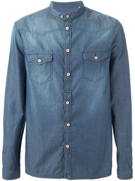 paolo pecora band collar denim shirt  blue  men lyst